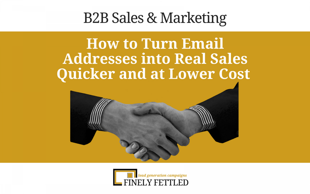 B2B Sales – Turn Email Addresses into Real Sales Quickly at a Lower Cost